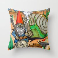 gnome Throw Pillows featuring Gnome by Steven Suiter