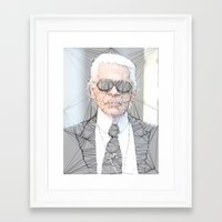 karl lagerfeld Framed Art Prints featuring ICONS: Karl Lagerfeld by LeeandPeoples