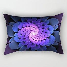 Spiraling Flower Fractal in Blue and Purple Rectangular Pillow