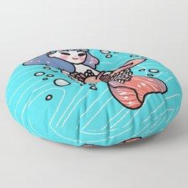 Coral Mermaid With Axolotl Floor Pillow
