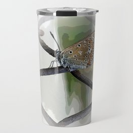 butterfly on fence Travel Mug