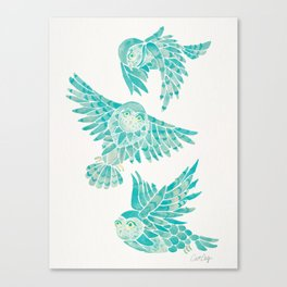 Owls in Flight – Turquoise Palette Canvas Print