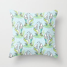 Ocean Aqua Magical Purrmaids Blue Fantasy Pattern Throw Pillow