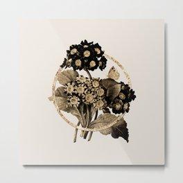 Gold Ring Antique Flower Glitter Botanical Illustration Metal Print