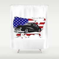 muscle Shower Curtains featuring 1948 Dodge Muscle Car by twistedFrog Creative