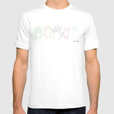 Hands are all the same White MEDIUM Mens Fitted Tee