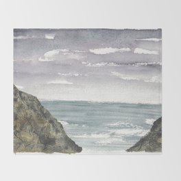 Atlantic Ocean Coastal Cliffs Throw Blanket