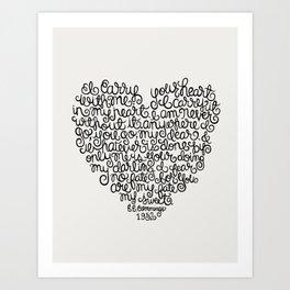 E.E. Cummings Heart Quote Illustration.  Art Print