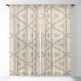 Textured Tile Triangle Pattern Design Sheer Curtain