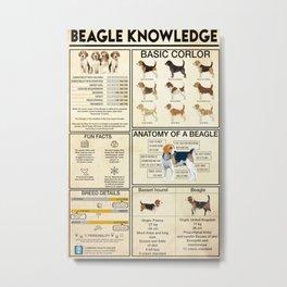 Beagle Knowledge Funny Dog Metal Print