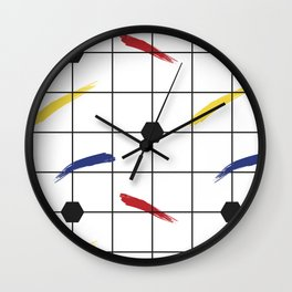 Postmodern Primary Brushstrokes Grid Wall Clock