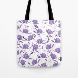 Hand painted lilac violet watercolor splatters floral Tote Bag