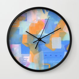 Geometric abstract in pastel Wall Clock