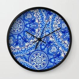 doily watercolor vector gzhel pattern Wall Clock