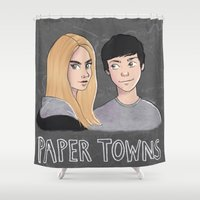 paper towns Shower Curtains featuring Paper Towns by Joan Pons