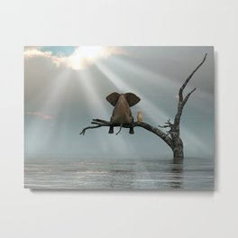 elephant and dog sit on a tree during a flood Metal Print