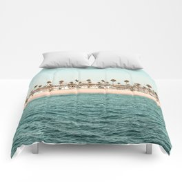 Vintage Newport Beach Print {1 of 4} | Photography Ocean Palm Trees Teal Tropical Summer Sky Comforters