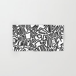 black & white doodle Hand & Bath Towel