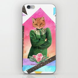 Roses are pink handcut collage iPhone Skin
