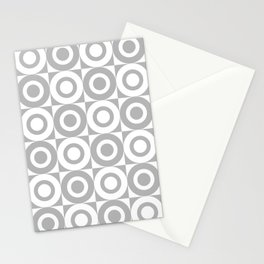Mid Century Square and Circle Pattern 541 Gray Stationery Cards