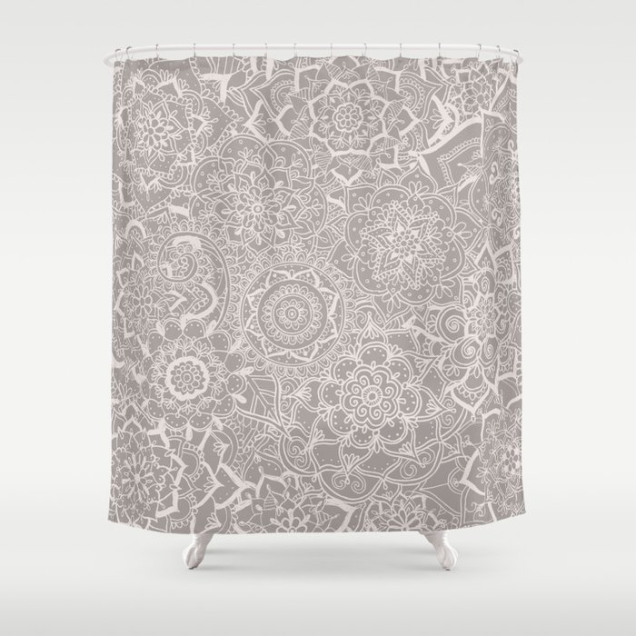 Delicate Lace Mandala Pattern Grey Cream Shower Curtain By Laurelmae