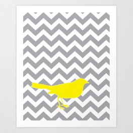 Yellow Bird on Gray Chevron Art Print