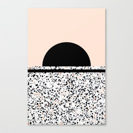 Terrazzo Stone Pattern Black and Orange Peach Canvas Print