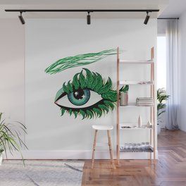 Spring eye with green leaves Wall Mural