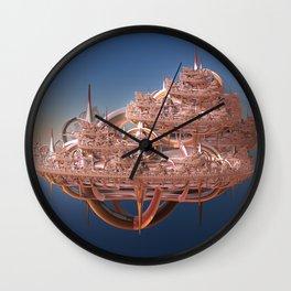Rose Gold Floating Fractal City Wall Clock