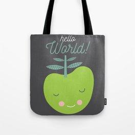 hello world green apple illustration Tote Bag