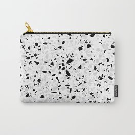 Black White and Grey Speckles Terrazzo Monochrome Dots Patter Carry-All Pouch