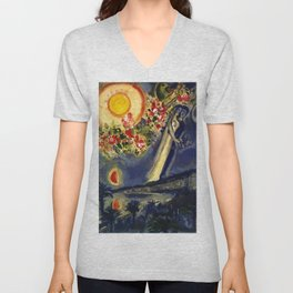 Lovers in the sky over Nice, France by Marc Chagall Unisex V-Neck