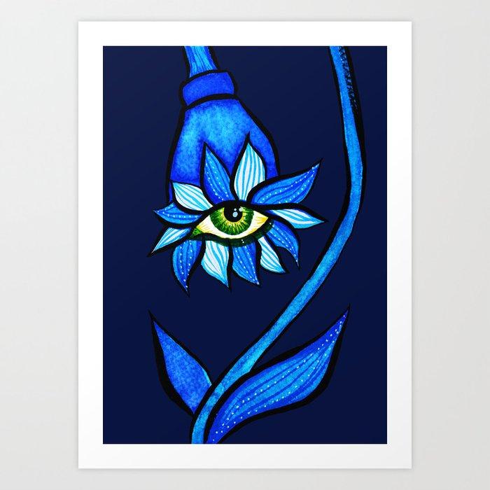 Blue Creepy Eye Flower Art Print