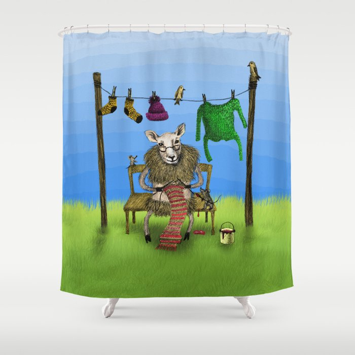 Sheep Shower Curtain By Annashell
