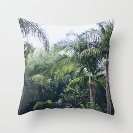 Palm Trees in a Tropical Garden Throw Pillow