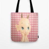 devil Tote Bags featuring  Devil  by Vintage  Cuteness
