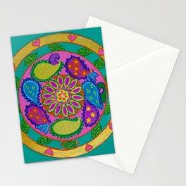 Paisley heart magic Mandala, acrylic painting on tile Stationery Cards