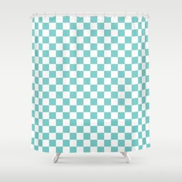 Aqua Checkerboard Pattern Shower Curtain