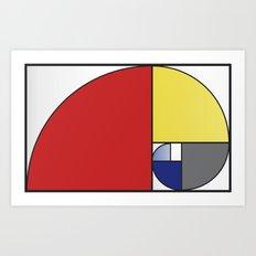 Mondrian vs Fibonacci Art Print