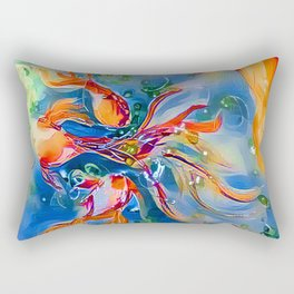 Rainbow Bubbly GoldFish watercolor by CheyAnne Sexton Rectangular Pillow