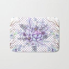 Modern lilac violet lavender polka dots watercolor floral Bath Mat