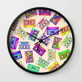 Retro 80's 90's Neon Patterned Cassette Tapes Wall Clock
