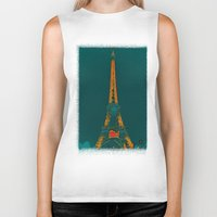 eiffel Biker Tanks featuring Tour Eiffel by Aloke Design