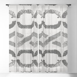 Shapes Of Love - Black White Grey Pattern Sheer Curtain