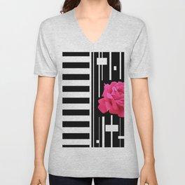 MODERN ABSTRACT PINK ROSES WHITE-BLACK ART Unisex V-Neck