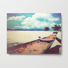 Longboat on the Shore, Thailand Metal Print