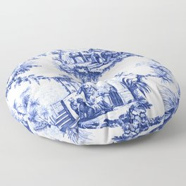 Blue Chinoiserie Toile Floor Pillow