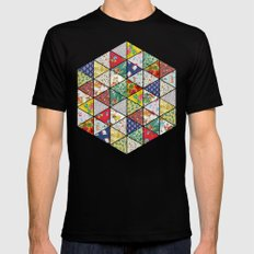 Geometric Floral Quilt Black MEDIUM Mens Fitted Tee