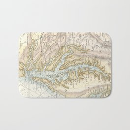 Vintage Map of The Chesapeake Bay(1778) 2 Bath Mat