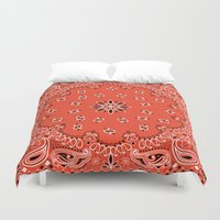 tupac Duvet Covers featuring red bandana by Marta Olga Klara